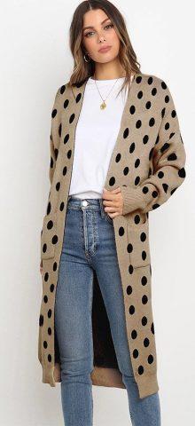 Hualong Cute Women Pocket Loose Khaki Knitted Coat