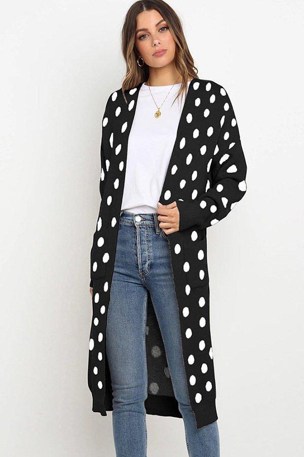 Hualong Cute Women Pocket Loose White Dot Knitted Coat