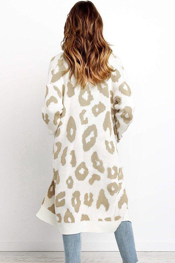Hualong Cute Women Pocket Loose White Knitted Coat