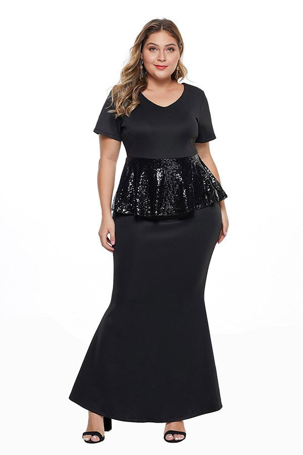 Hualong Elegant Black Sequin Peplum Waist Plus Size Evening Gowns 1