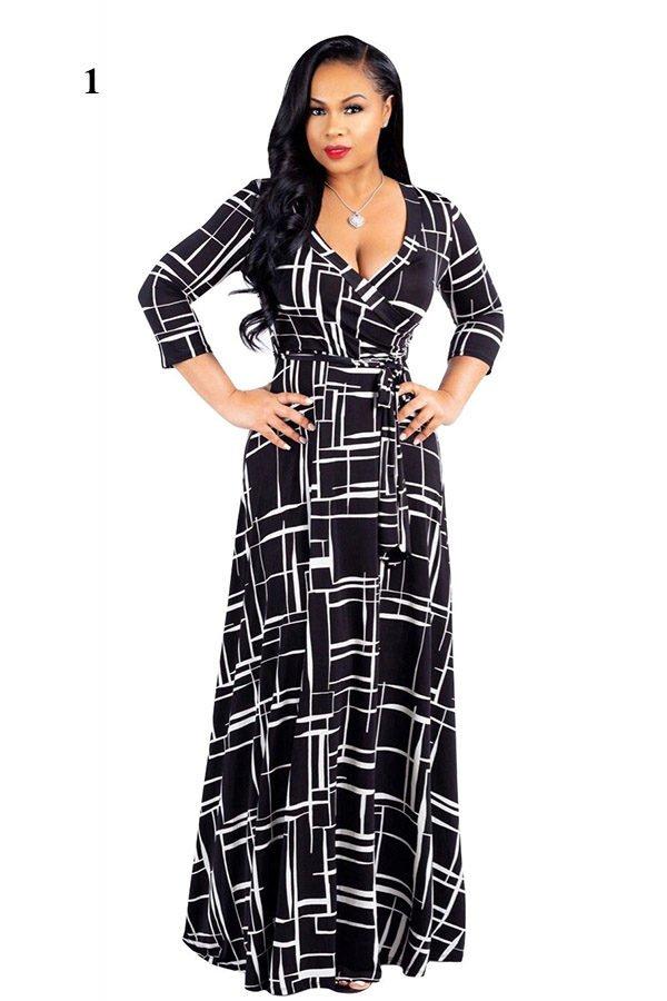 Hualong Elegant Half Sleeve Printed Plus Size Maxi Dresses