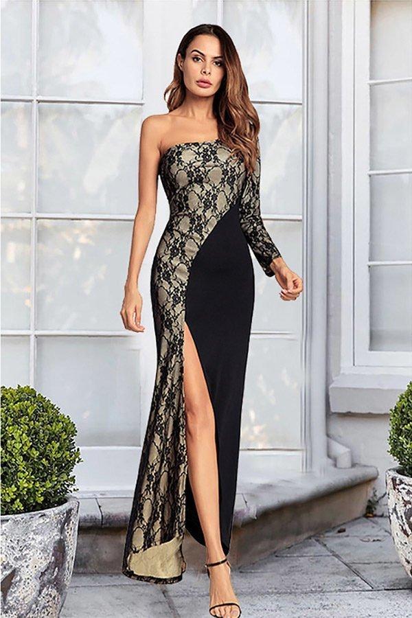Hualong Sexy Black Lace One Shoulder Split Leg Maxi Dress