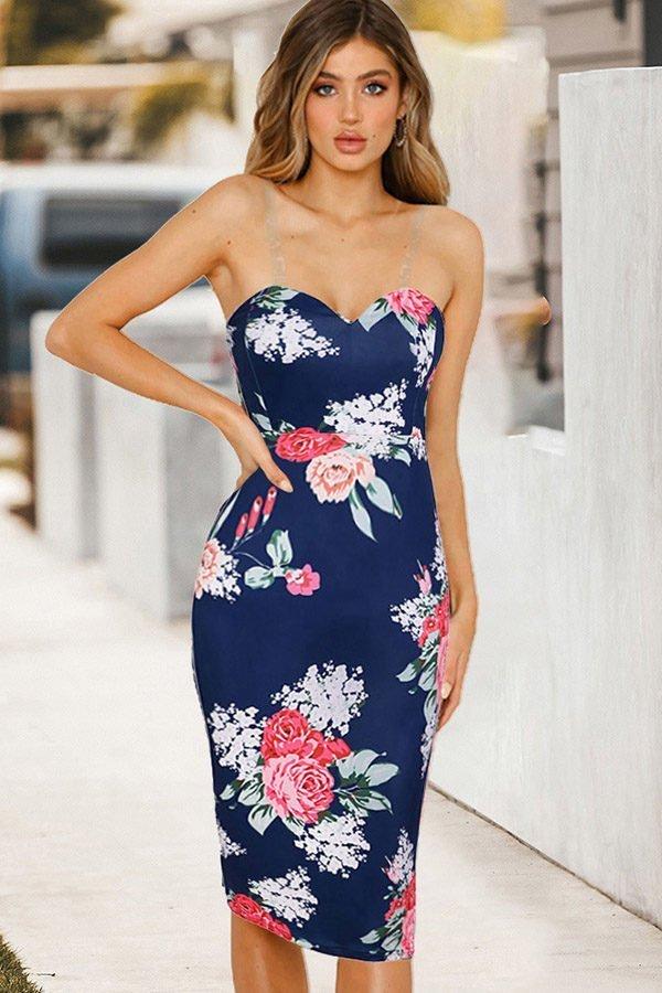 Hualong Sexy Blue Strap Short Floral Sleeveless Dress