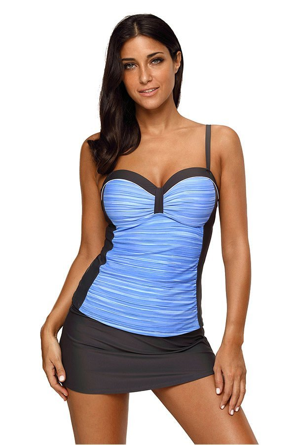 Hualong Sexy Sleeveless Ruched Two Pieces Blue Ladies Tankinis 1