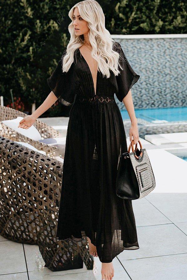 Hualong V Neck Short Sleeve Long Black Swimsuit Cover Up Dress