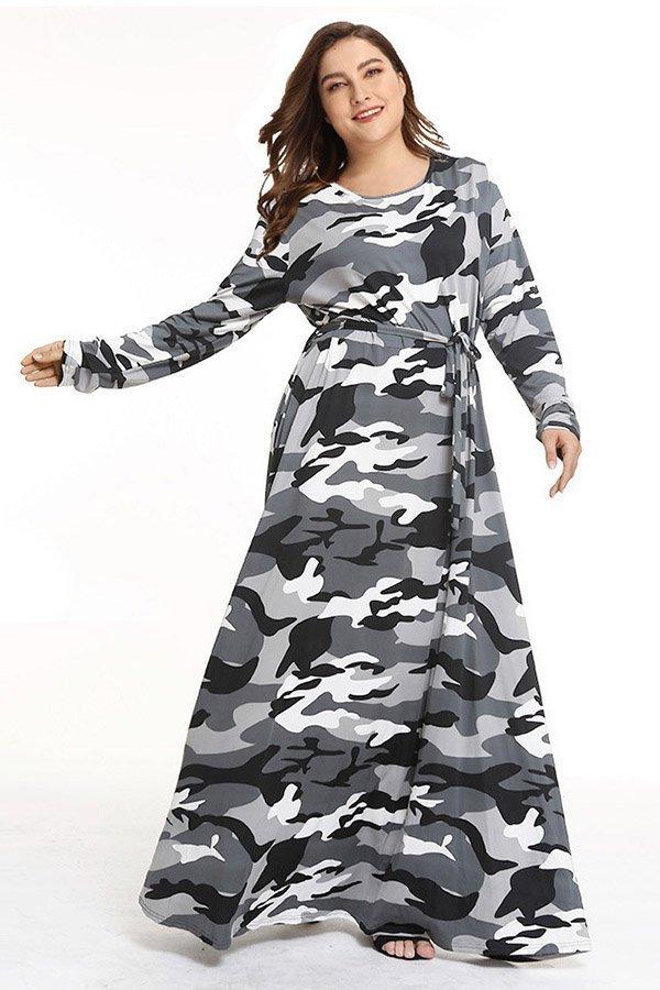 Hualong Cute Long Sleeve Plus Size Camouflage Dresses