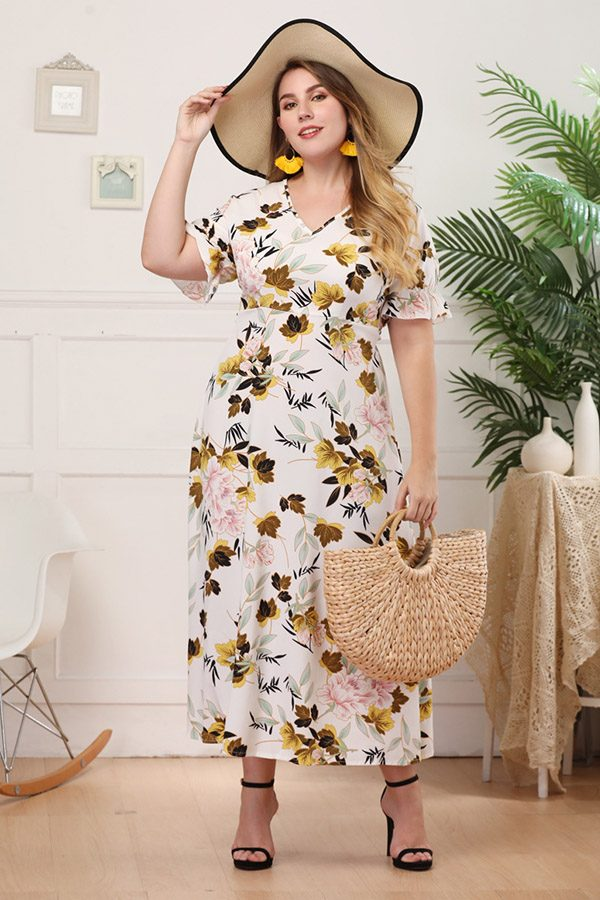 Hualong Cute V Neck Short Sleeve Plus Size Flower Dresses