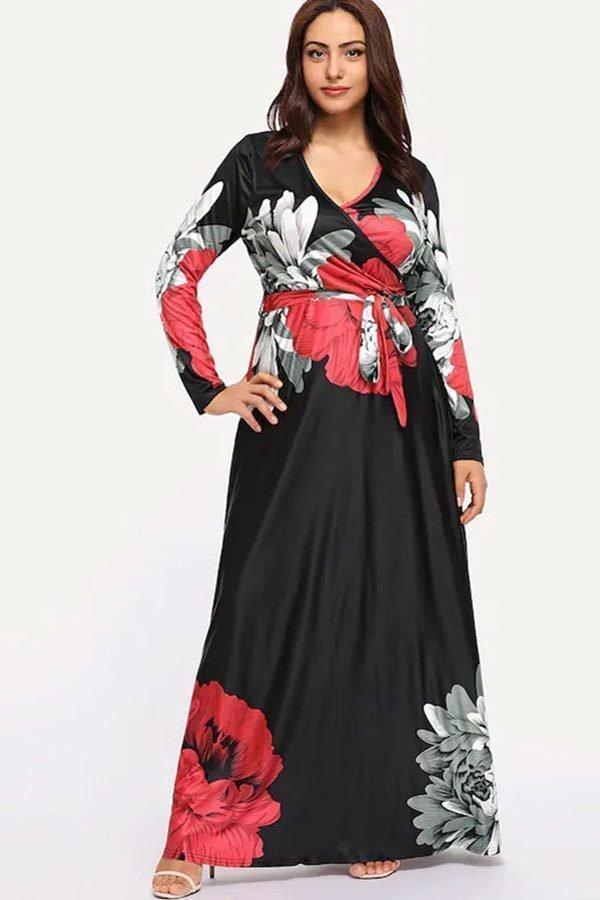 Hualong Elegant V Neck Floral Plus Size Long Sleeve Dresses