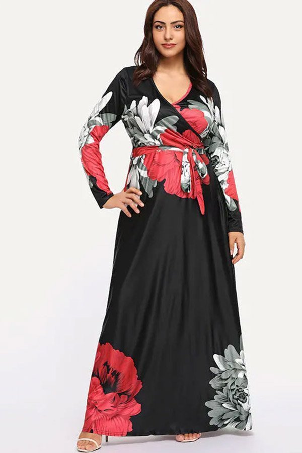 Hualong Elegant V Neck Floral Plus Size Long Sleeve Dresses