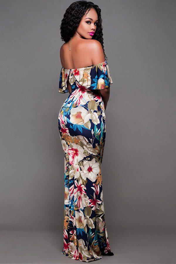 Hualong Sexy Floor Length Off The Shoulder Floral Maxi Dress