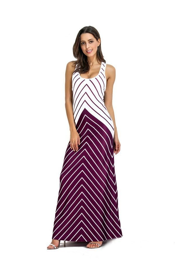 Hualong Sexy Strap Striped Plus Size Maxi Dresses For Summer 1