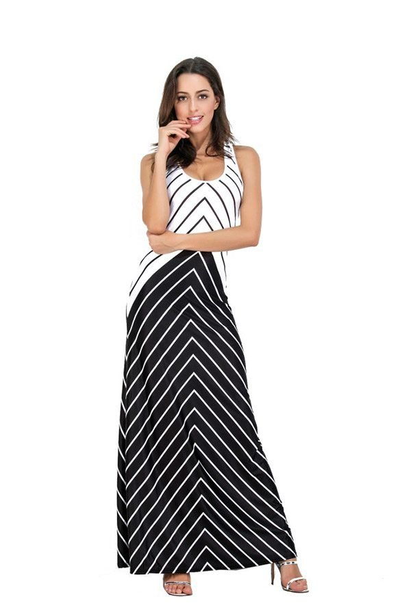 Hualong Sexy Strap Striped Plus Size Maxi Dresses For Summer