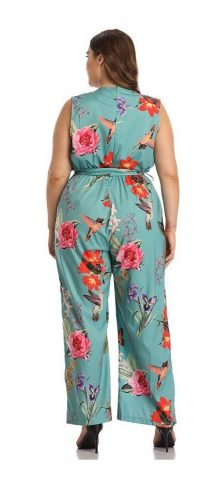Hualong Sexy V Neck Sleeveless Plus Size Floral Jumpsuit