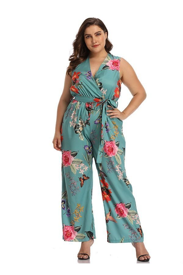 2019 original for sale exceptional range of styles Hualong Sexy V Neck Sleeveless Plus Size Floral Jumpsuit