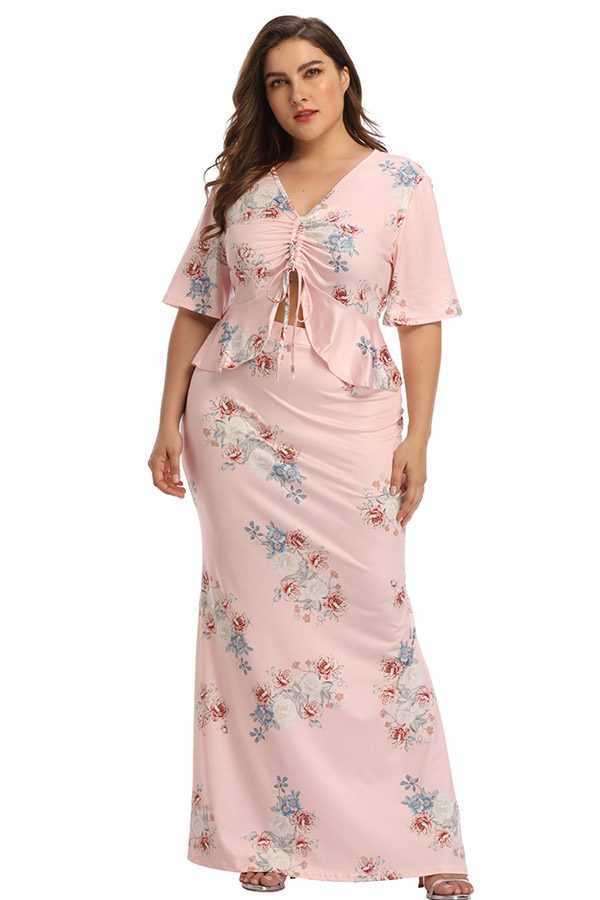 Hualong Sexy V neck Two Pieces Plus Size Pink Maxi Dress 1