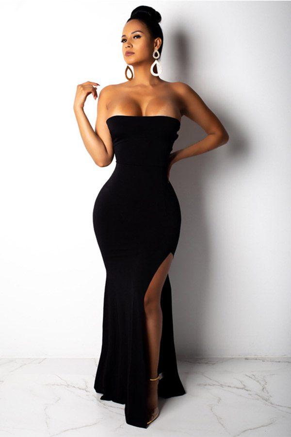 Hualong Sexy Back Open Off Shoulder Split Maxi Dress