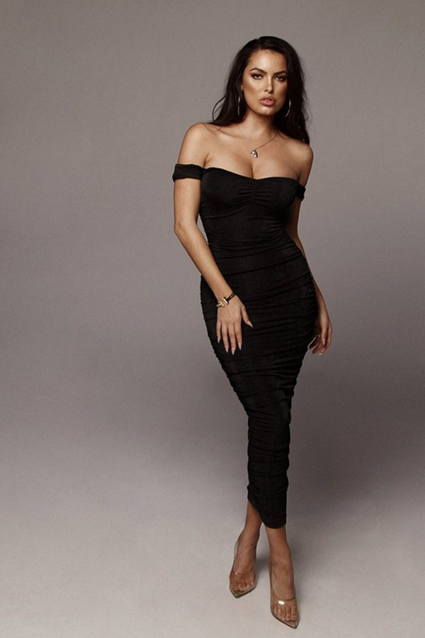 Hualong Sexy Bodycon Off The Shoulder Pleated Dress