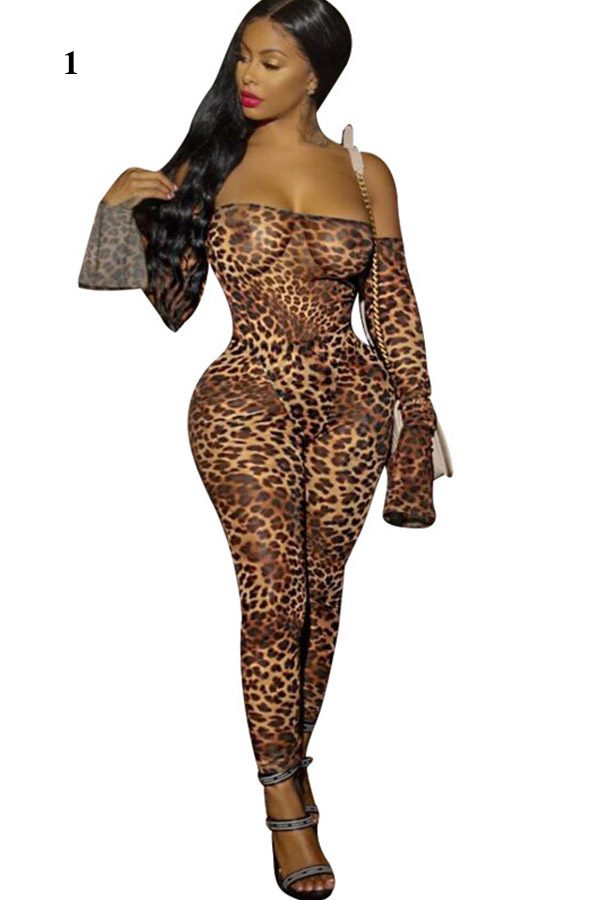 Hualong Sexy Leopard Printed Long Sleeve Off The Shoulder Jumpsuit