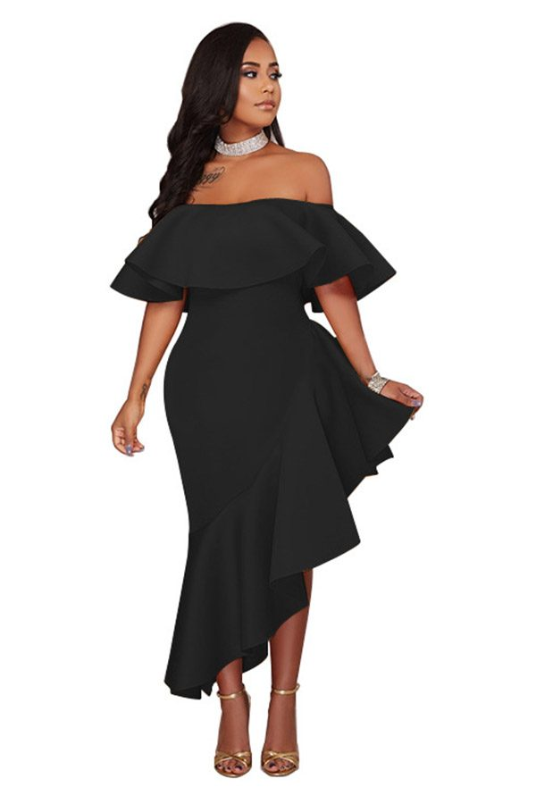Hualong Sexy Prom Party Off The Shoulder Flounce Dress