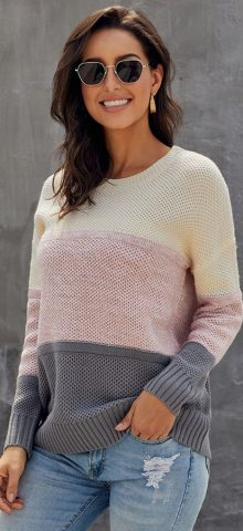 Hualong Cute Long Sleeve Color Block Crochet Pullover Sweater