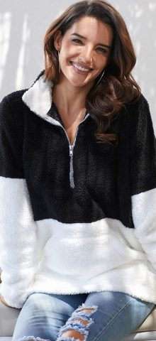 Hualong Cute Long Sleeve Zip Black White Fuzzy Sweater Pullover