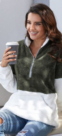 Hualong Cute Long Sleeve Zip Fuzzy Pullover Sweater