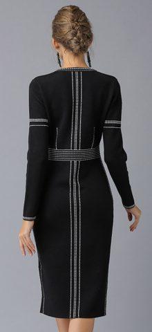 Hualong Cute Round Neck Front Split Long Sleeve Work Dress