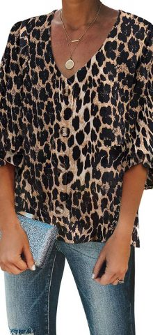 Hualong Cute Short Sleeve Leopard Button Down Blouse