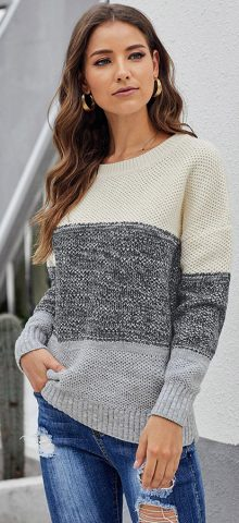 Hualong Long Sleeve Color Block Knit Cute Pullover Sweaters