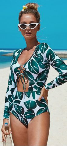 Hualong Sexy Long Sleeve One Piece Green Leaf Print Swimwear