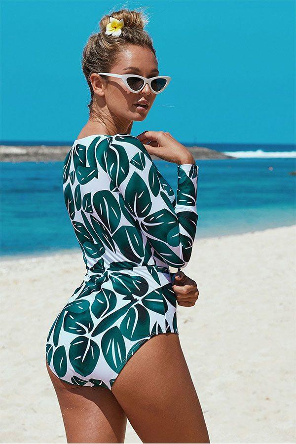 Hualong Sexy Long Sleeve One Piece Green Leaf Print Swimwear
