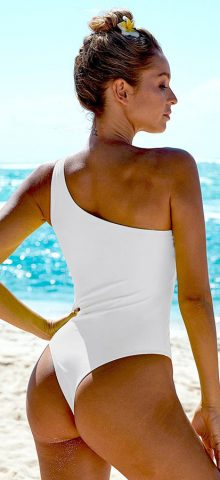 Hualong Sexy One Piece White One Shoulder Swimsuit