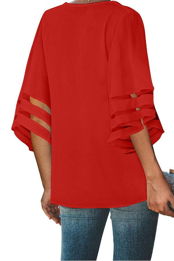Hualong Sexy V Neck Flare Sleeve Red Button Up Blouse