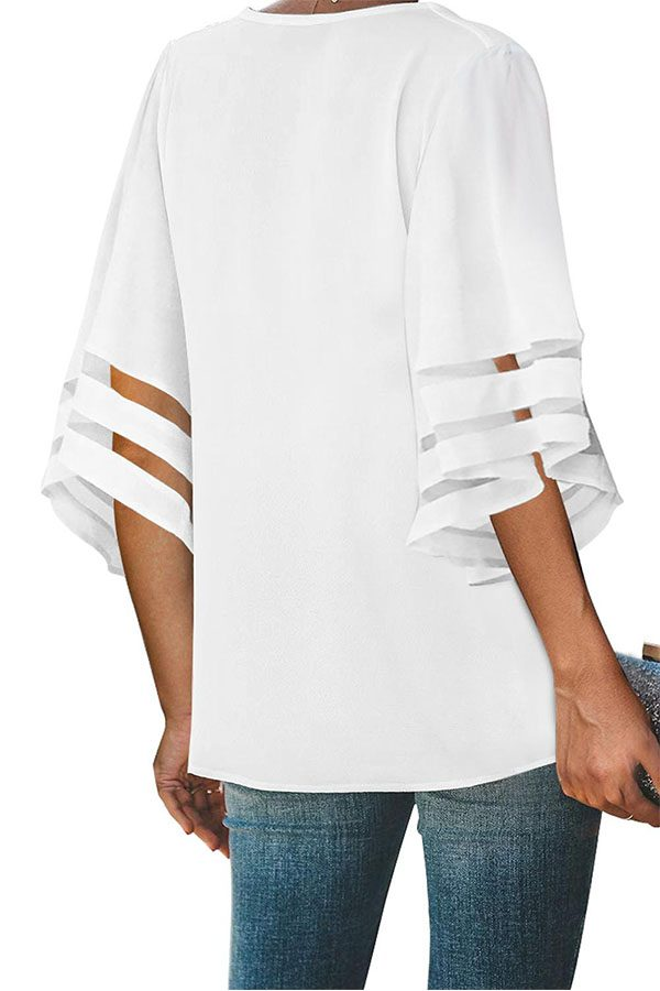 Hualong Sexy V Neck Flare Sleeve White Button Up Blouse