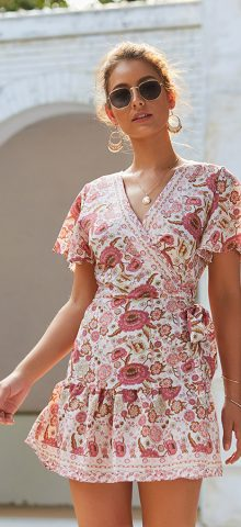 Hualong Sexy V Neck Short Sleeve Short Boho Dresses