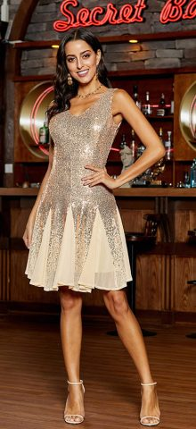 Hualong Sexy V Neck Party Gold Sequin Mini Dress