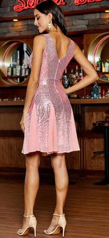 Hualong Sexy V Neck Party Rose Gold Mini Dress