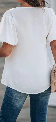 Hualong Cute V Neck Short White Puff Sleeve Top