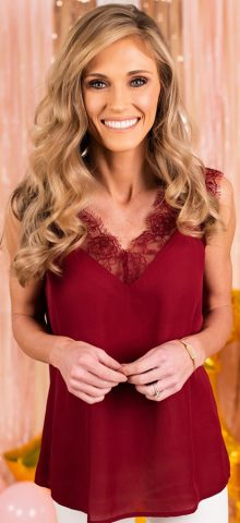 Hualong Sexy Women V Neck Red Lace Cami Top