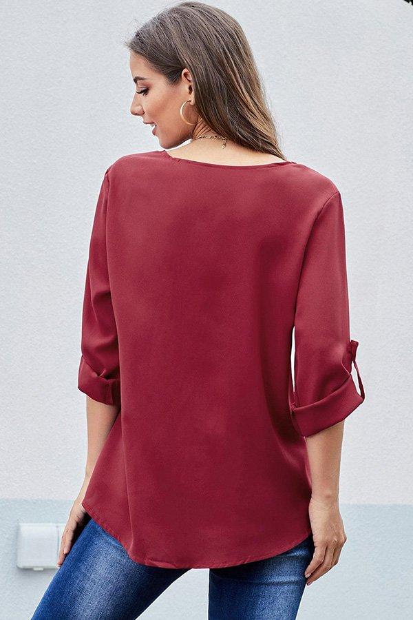 Hualong Women Cute Red Half Sleeve Front Zip Blouse
