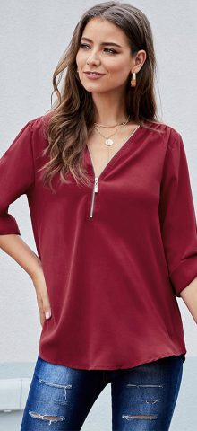 Hualong Women Cute Red Half Sleeve Front Zip Blouse