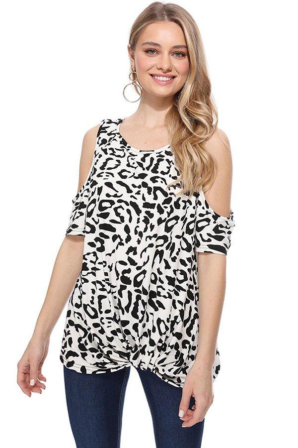 Hualong Womens Long Leopard Print Cold Shoulder Tops