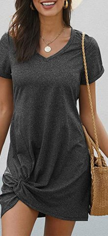 Hualong Cute Short Sleeve Side Knot Dark Gray Casual Mini Dress