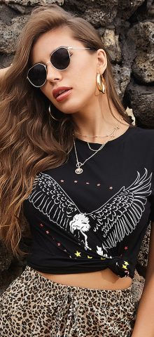 Hualong Cute Short Sleeve Women Black American Eagle T Shirts 1