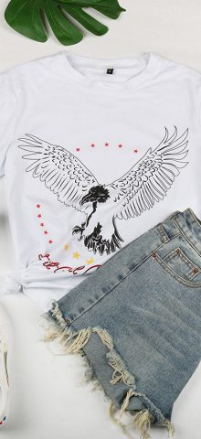 Hualong Cute Short Sleeve Women White American Eagle T Shirts