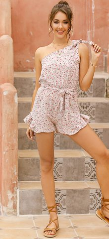 Hualong Cute Summer High Waist One Shoulder Floral Romper