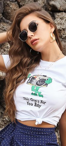 Hualong Cute This One's For your Baby White Graphic Tee Crop Tops