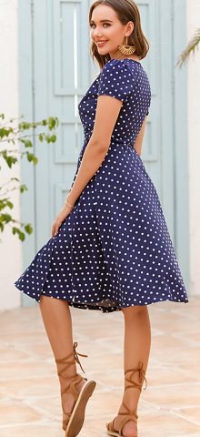 Hualong Cute V Neck Short Sleeve Navy Polka Dot Dress