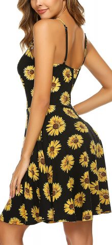 Hualong Sexy Beach Floral Flared Strappy Summer Dresses