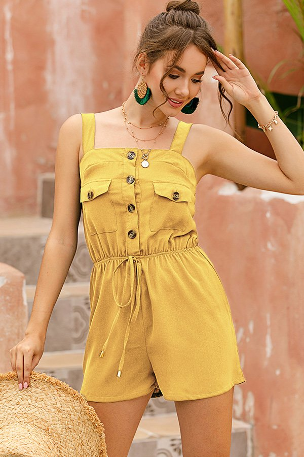 Hualong Sexy Button Up Spaghetti Strap Romper